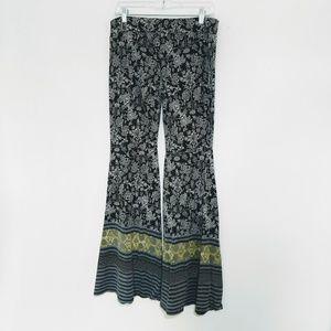 Free People Wide Leg Flare Elastic Waist Pants